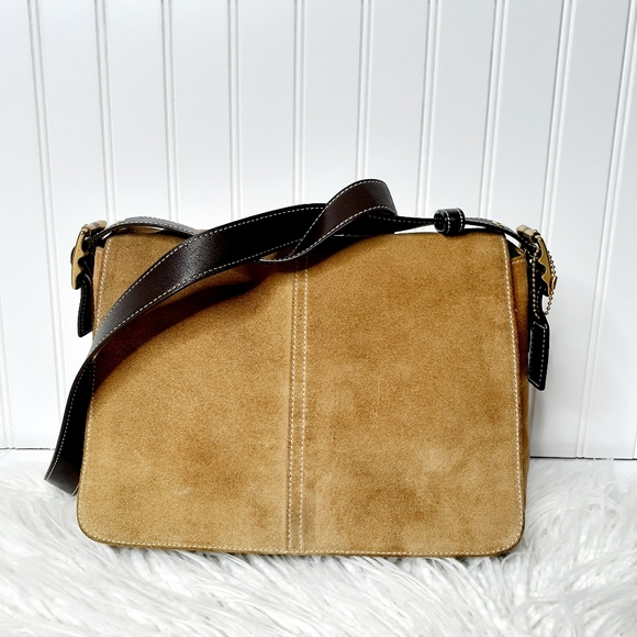 COACH Tan Suede and Leather Flap Crossbody Bag